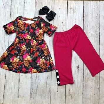 RTS Hot Pink Skull 2pc Set