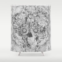 Bookmatched Skull Shower Curtain by Kristy Patterson Design