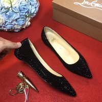Best Online Sale Christian Louboutin CL Strass Flat - Black