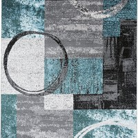 2381 Aqua Blue Geometric Contemporary Area Rugs