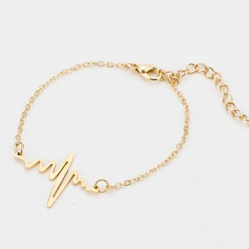 SUTEYI Simple Wave Heart Necklace Chic Ecg Heartbeat Pulse Charm Pendant Bracelets Bangles Women Vintage Jewelry Accessories