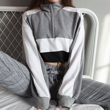 2018 New Women Casual Trend Cloth Spring Fall Long Sleeve Grey Black White Patchwork Crop Hoodies Sweatshirts Zipper Pullovers