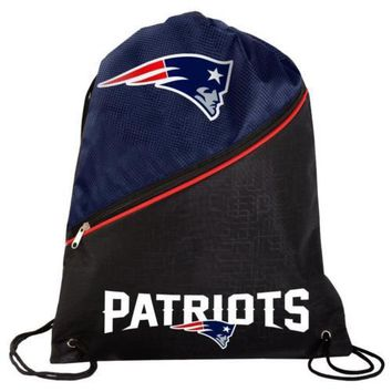 * New England Patriots High End Zippered Drawstring Backpack School Gym Bag