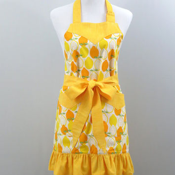 Women's Apron, Lemons and Oranges Fruit Print, Yellow and Orange Stripe & Off-White, Ruffled Bottom , Fully Lined, 100% Premium Cotton