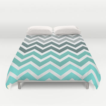 Tiffany Fade Chevron Pattern Duvet Cover by RexLambo