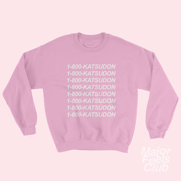 Yuri on Ice 1-800 Katsudon Shirt White Black Blue or Pink Sweater Sweatshirt Yuuri Katsuki Pork Cutlet Bowl Unisex Tumblr Aesthetic Clothing