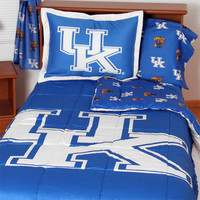 NCAA Kentucky Wildcats Collegiate 7pc Blue Queen Bedding Set: Full
