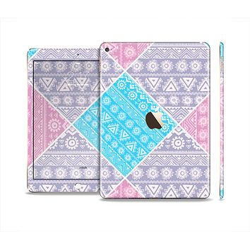 The Squared Pink & Blue Textile Patterns Skin Set for the Apple iPad Air 2