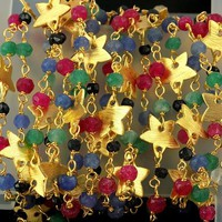 Mix Multi Gemstone Star Charm Faceted Beaded Chain Gold Plated 3.5-4 mm Rosary, Pretty Look Star Charms Rosary Chain