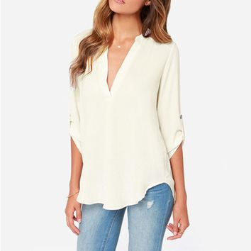 White Roll Up Sleeve Chiffon Shirt