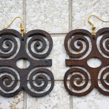 Earrings wood: Adinkra Dwennimmen, lasercut birch plywood, stain coated, african, symbol humility together with strength