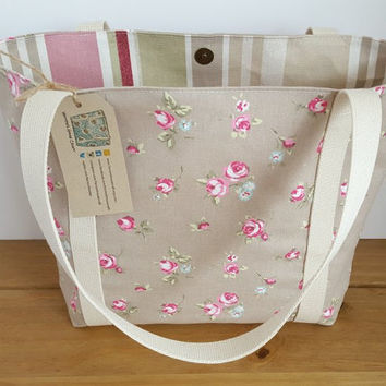 Rose Tote Bag, Canvas Beach Bag, Reusable Shopping Bag, Flowery Purse, Knitting Tote, Fabric Handbag, Canvas Shoulder Bag, Gift For Her