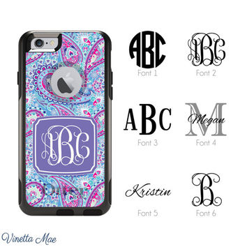 iPhone Otterbox Commuter Series Case for iPhone 5/5s, 6/6s, 6 Plus/6s Plus Monogrammed Paisley Initials Personalized Cell Phone Case 1217