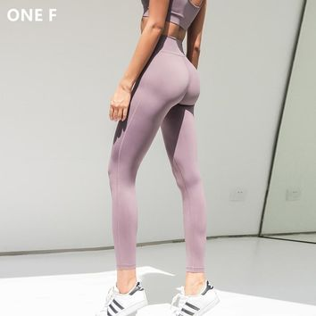 ONE F yoga pants with hidden pocket solid purple jogging pants leggins sport women fitness clothing tummy control sport leggings