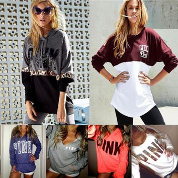 Women Pink Print Long Sleeve Hoodie Pullover Sweatshirt Casual Hooded Spring Top