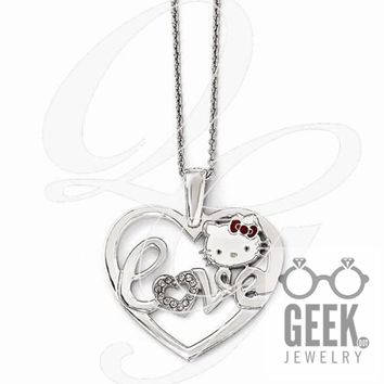 Sterling Silver Hello Kitty Crystal/Enamel Heart Red Bow Collection Necklace