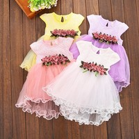 Multi-style Super Cute Baby Girls Summer Floral Dress Princess Party Tulle Flower Dresses 0-3Y Clothing
