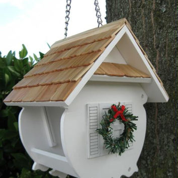 Bird Feeder - Fully Functional With Roof That Slides Up Along Chain For Easy Access To Seed Tray