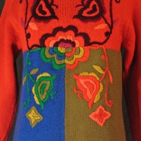 1960's Phil Rose of California Pantsweater-Op Art Psychedelic Neon Wool Color Block Fringe Embroidered Sweater Pullover