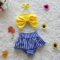 Girls baby kids swimsuit two pieces swim suit children swimwear girls beachwear bathing suits for  child 2 colors