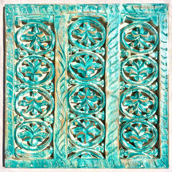 Rustic Antique Wall Panel of Reclaimed Wood Hand Carved Handmade - Beach Turquoise