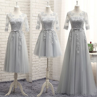 Free shipping new 2017 O-neck Wedding Party Bridesmaid Gowns Formal Long High Quality Dresses Grey Sexy Half Sleeve Gown YA012