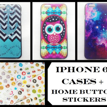 iPhone6 iPhone 6 Hard Thin Plastic Case Cover Back 4.7inch + Home Button Stickers Pack Anchors Infinity Owls Galaxy