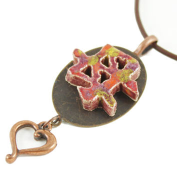 Japanese Symbol for Mother- Handmade Ceramic Necklace