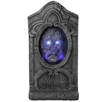 Halloween Haunted Henry Blue Eyes Talking Tombstone Decoration NEW RARE