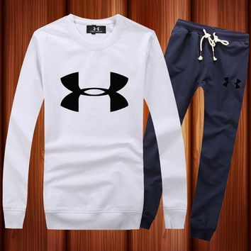 PEAPNQ2 Under Armour Woman Men Long Sleeve Shirt Top Tee Pants Trousers Set Two-Piece Sportswear-3