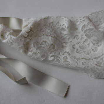 Great Gatsby Headband -- Flapper Costume -- Ivory Lace Hair Wrap or Sash