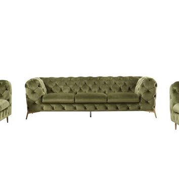 Divani Casa Sheila Modern Tufted Green Velour Fabric Sofa Set
