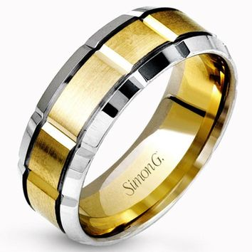 Simon G. Two-Tone White and Yellow Gold 8MM Carved Wedding Band