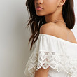 Crocheted Flounce Off-the-Shoulder Top