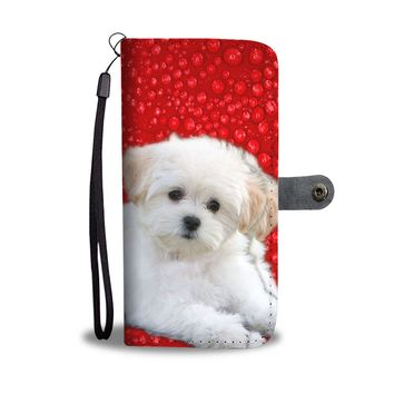 Maltese Dog With Red Print Wallet Case- Free Shipping