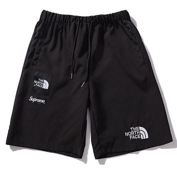 The North Face X Supreme Summer Popular Women Men Casual Embroidery Sports Shorts Black I12579-1
