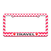Travel Love with Hearts - License Plate Tag Frame - Pink Chevrons Design