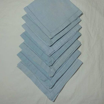 Set of 7 Vintage 1960s Linen Dinner Napkins in Pale Blue, 14 Inches Square, Upcycle Supply, Picnic Napkins, Vintage Napkins, Vintage Linens