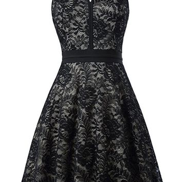 A| Chicloth Women's Halter Floral Lace Cocktail Party Dress Homecoming Dress