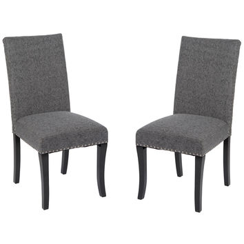 ARMEN LIVING Accent Nail Side Chair In Charcoal Fabric (Set Of 2)