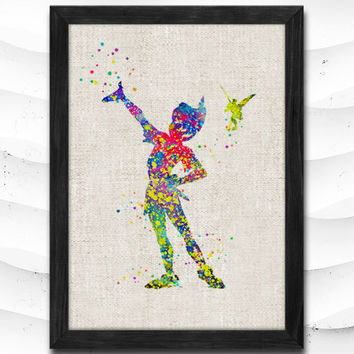 Peter Pan Watercolor Printing Art Print Home Decor Giclee Wall Art Poster Wall Decor Art Home Decoration Linen Poster CAP07