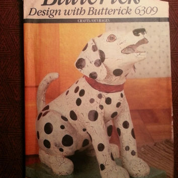 Uncut 1992 Butterick Sewing Pattern, 6309! Stuffed Animal Toys or Home Decor/Dogs/Cows/Cats/Doorstops/Arts & Crafts