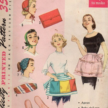 Simplicity Sewing Pattern 1950s Apron Pony Tail Hat Bag Purse Slippers Cummerbund Pac-of-Presents Kerchief Baby Doll Cap