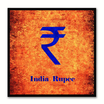 India Rupee Money Currency Orange Canvas Print with Black Picture Frame Home Decor Wall Art Collection Gifts