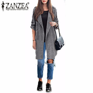 Zanzea Fashion 2016 Spring Women Slim Thin Outerwear Casual Lapel Windbreaker Cape Coat Linen Cardigan Jacket Plus Size S-6XL
