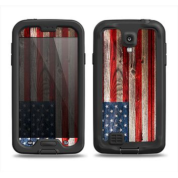 The Wooden Grungy American Flag Samsung Galaxy S4 LifeProof Nuud Case Skin Set