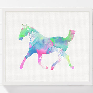 Horse Art Print, Baby Girl Nursery, Nursery Wall Decor, Pastel Colors, Kawaii, Girls Room Decor, Horse Painting, Girls Wall Art