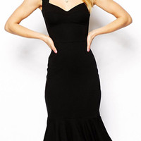 Black Sweetheart Neckline Cap Sleeve Ruffled Hem  Bodycon Dress