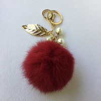 CHERRY pom pom keychain rabbit fur pompon unique bag charm in beautiful burgundy color tone with pearl charms