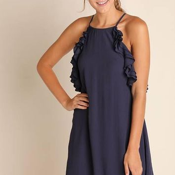 Ruffled Pocket Open Back Dress